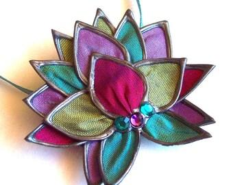 Precious Gem lotus necklace/brooch - small