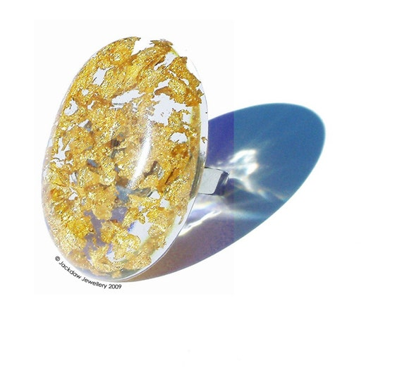 Resin Ring Gold Leaf Large Oval Chunky