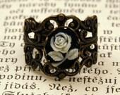Brass Rose Filigree Ring