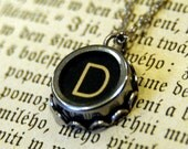 Vintage Typewriter Key Necklace- D