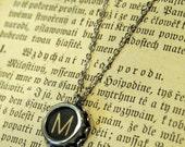 Vintage Typewriter Key Necklace- M