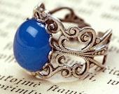 Blue Agate Stone Filigree Ring