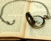 Brass Mechanical Pocket Watch with Astrology Design -on Fob or Necklace