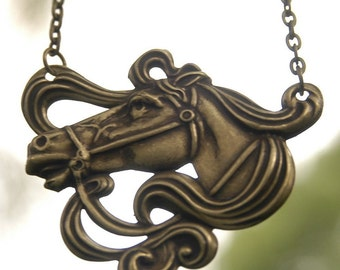 Art Nouveau Horse Necklace