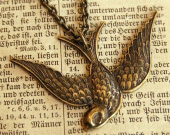 Swooping Bird Necklace in Brass