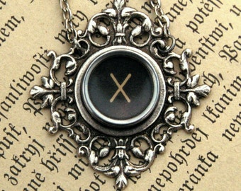 Vintage Typewwriter Key Necklace- X