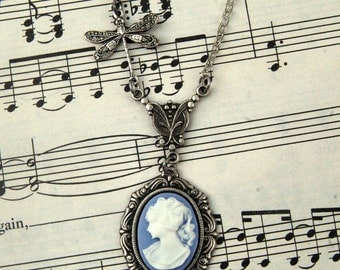 Blue Victorian Lady Cameo Necklace in Silver