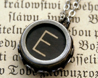 Vintage Typewriter Key Necklace- E