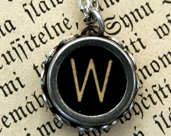 Vintage Typewriter Key Necklace- W