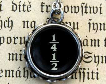 Vintage Typewriter Key Necklace- Fraction