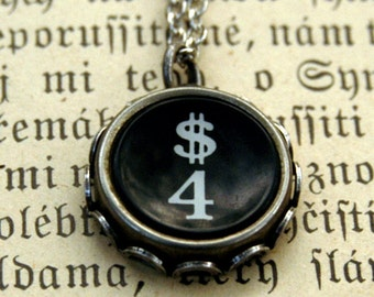 Vintage Typewriter Key Necklace- 4