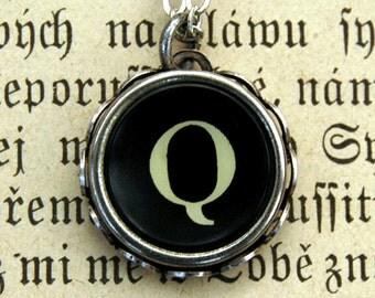 Vintage Typewriter Key Necklace- Q