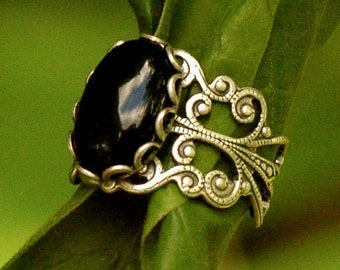 Filigree Ring - Black Onyx Stone in Silver 14x10mm