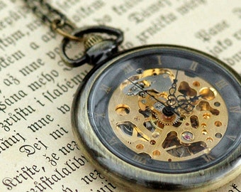 Brass Mechanical Pocket Watch 3 -on Fob or Necklace