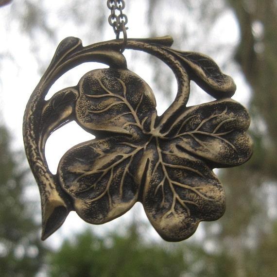 Irish Shamrock Necklace- Brass