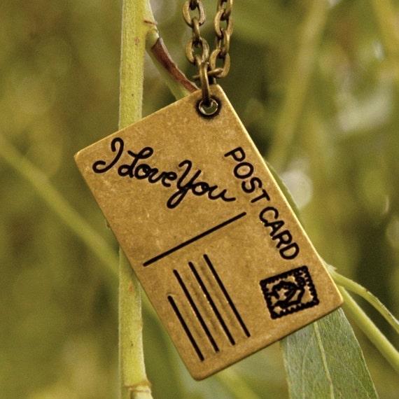 Postcard Necklace - Brass
