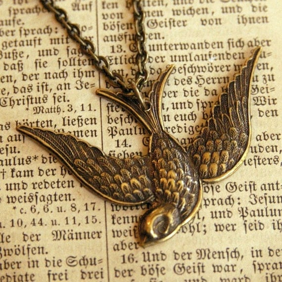 Swooping Bird Necklace in Brass