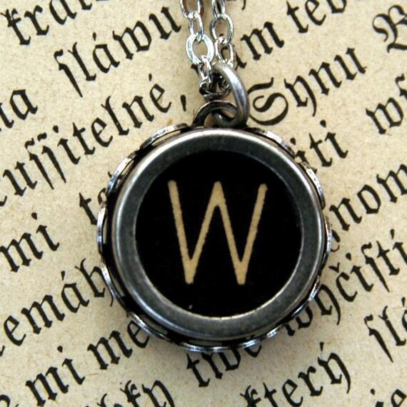 Vintage Typewriter Key Necklace- W