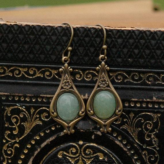Aventurine and Brass Earrings