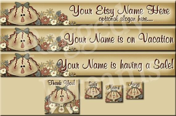 Primitive Raggedy Annie Flowers - Premade ETSY Shop Design - Etsy Banner Set - SHOP ICON - Shop Profile Photo