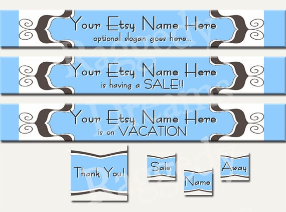 Premade ETSY Shop Set Banner Avatar Raggedy Dreams Blue Brown Scroll Boutique Design