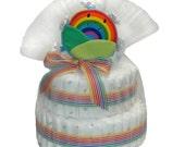 clearance SALE --- Rainbow Eco-Friendly Diaper Cake by jkalea
