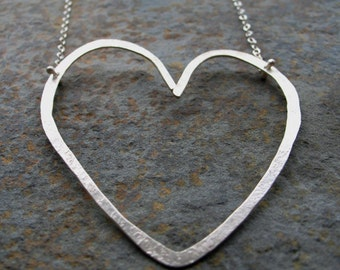 Wonky Heart - - Sterling Silver Necklace
