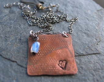Sweet  Heart  - Stamped Copper Necklace