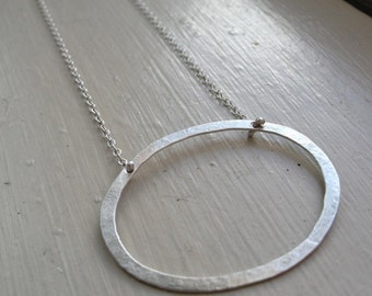 Ellipse - Forged Sterling Silver Oval Necklace