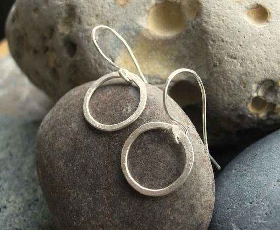 Oo -  Forged Sterling Circle Earrings  Small