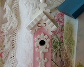 Adorable Hand Painted Pink Birdhouse with Victorian Accents
