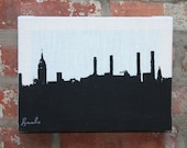 SALE --- New York Skyline Stretched Linen Wall Hanging - Black and White