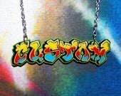 Graffiti TAG'D Custom Personalized Nameplate Necklace by beebles
