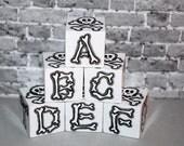 ABC Blocks Rockin Blocks Grey Skull n Bones  Alphabet Blocks Punk Rock Goth Baby Gift