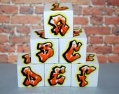ABC Blocks Graffiti Orange Confetti Rockin' Blocks Hip Hop Baby Blocks Alphabet Blocks