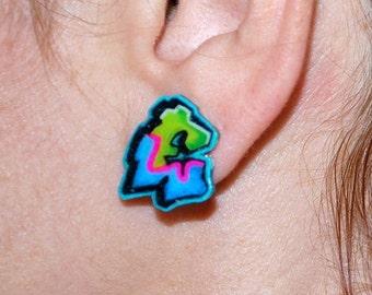 Custom Graffiti Initial Earrings by beebles