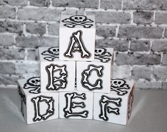 ABC Blocks Rockin Blocks Grey Skull n Bones  Alphabet Blocks Punk Rock Goth Baby Gift