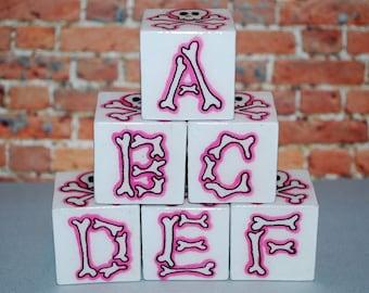 Skull n Bones Alphabet Blocks ABC Blocks Pink Rockin' Blocks  Baby Blocks Rock n Roll Baby