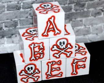 ABC Blocks Rockin Blocks Red Skull n Bones Alphabet Blocks Baby Blocks Punk Rock Baby