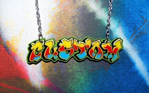 Graffiti Tag D Custom Personalized Nameplate Necklace By