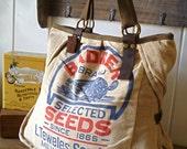 Badger Seeds, Milwaukee, Wisconsin-Vintage Seed Sack Weekend Tote - Americana OOAK Canvas & Leather Tote