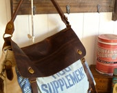 Blue Hog Supplement, Russel Miller Co- Minneapolis, Minnesota - Vintage Seed Sack Satchel Bag - Americana OOAK Canvas and Leather Handbag