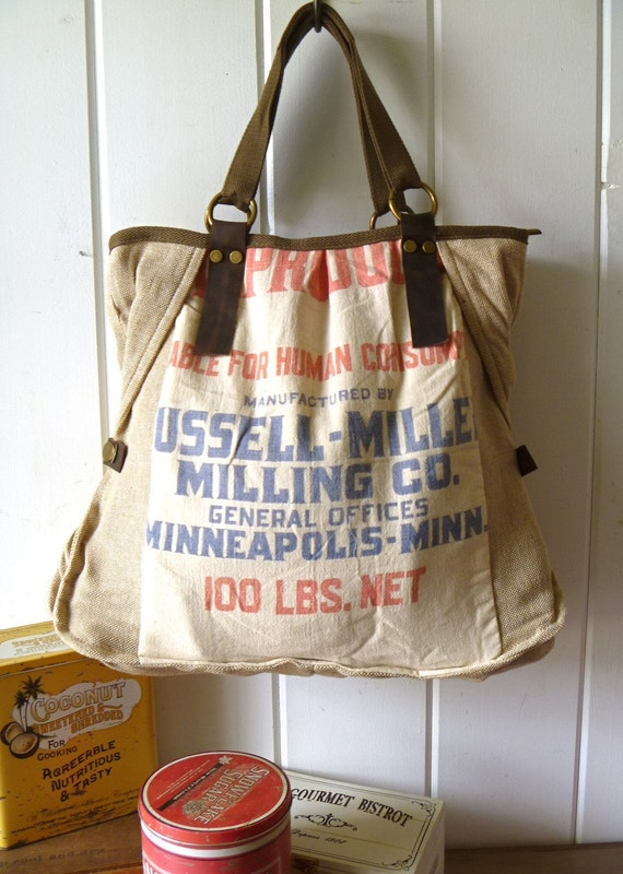 Reserved for aboutintime- Russell-Miller Milling Co, Minot, N Dakota - Vintage Flour Sack Weekend Tote - Americana OOAK Canvas & Leather Tote