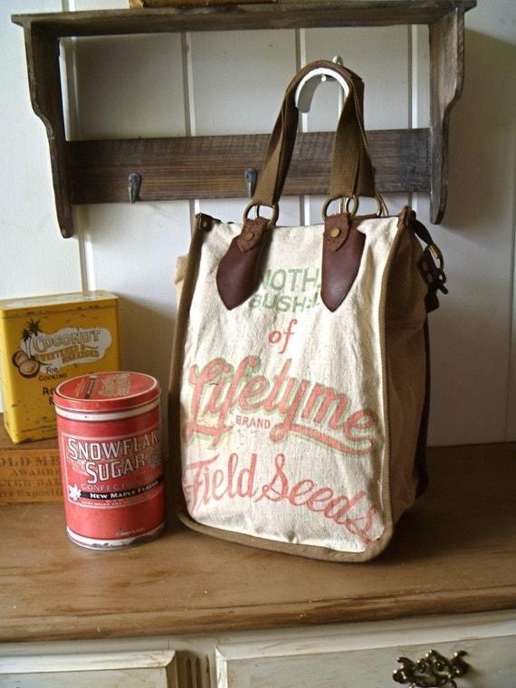 Lifetyme Field Seeds, Peoria, Illinois- Vintage Seed Sack Shopper Tote - Americana OOAK Canvas & Leather Tote