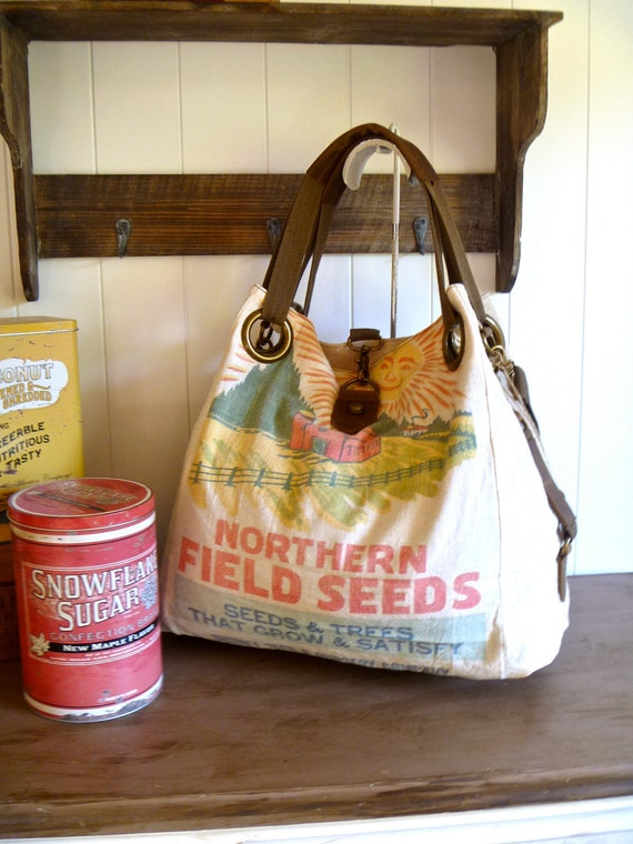 Northern Field Seeds,  Gurney Seed Co -Vintage Seed Sack Open Tote - Americana OOAK Canvas & Leather Tote