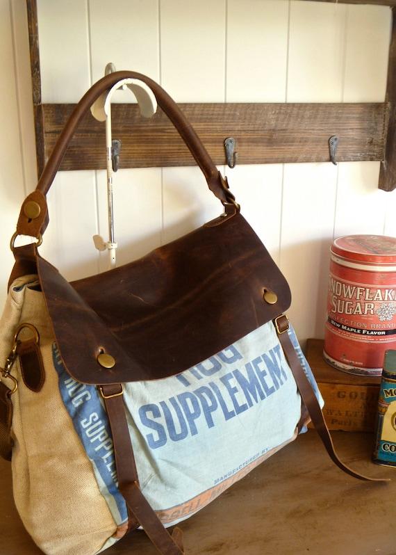 Blue Hog Supplement, Russel Miller Co- Minneapolis, Minnesota - Vintage Seed Sack Satchel Bag - Americana OOAK Canvas and Leather Handbag