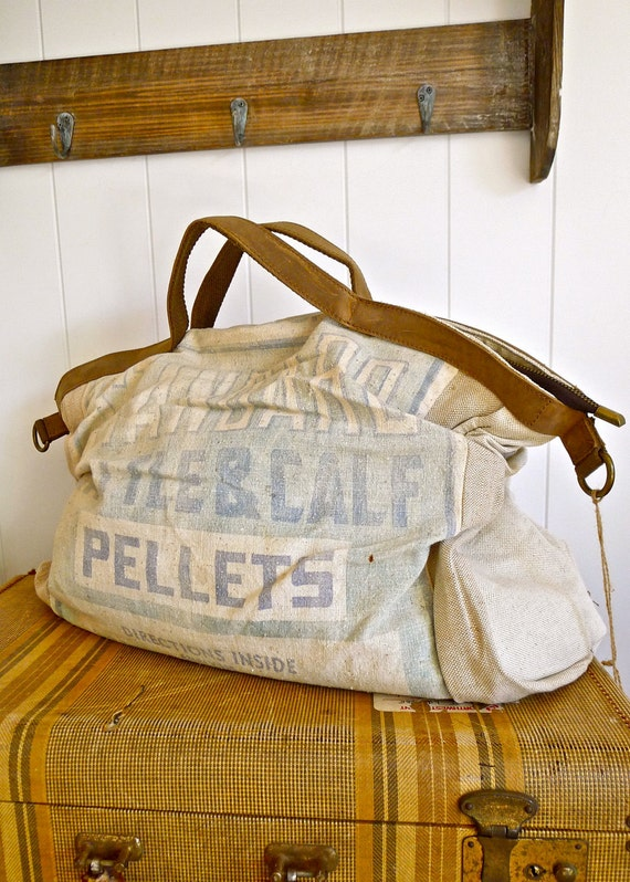 Standard Cattle and Calf Pellets -  Vintage Feed Sack Messenger Bag- Americana OOAK Canvas & Leather Tote... Selina Vaughan Studios