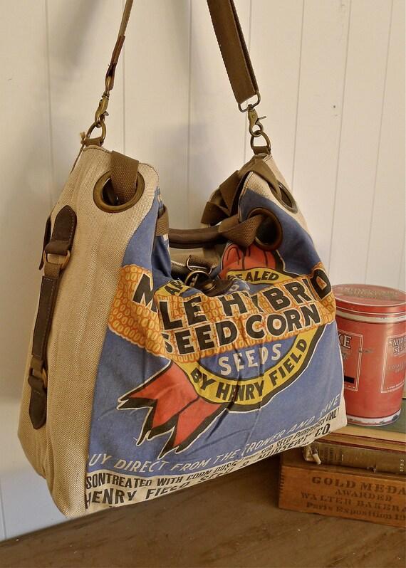 Mule Hybrid Seed Corn- Henry Field Seed Nursery - Vintage Seed Sack Open Tote -Americana OOAK Canvas & Leather Tote
