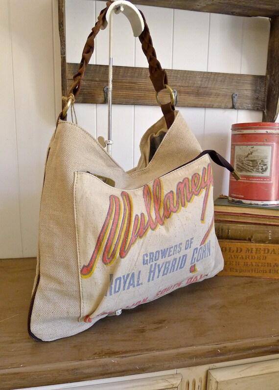 Mullaneys Corn- Vermillion, South Dakota -  Vintage Seed Sack Hobo Zipper Tote - Americana OOAK Canvas & Leather Tote... Selina Vaughan
