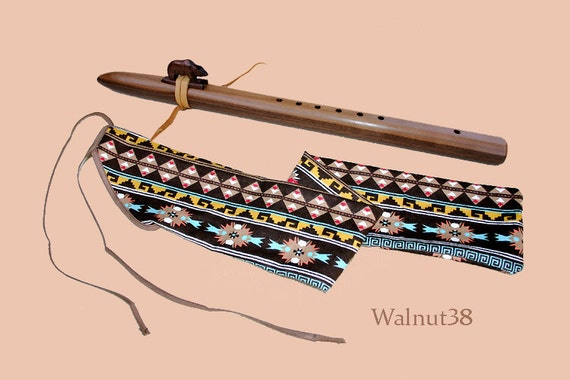 Native American Style Walnut Flute and Case